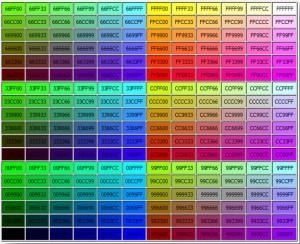 جدول رنگ کد هگزادسیمال
