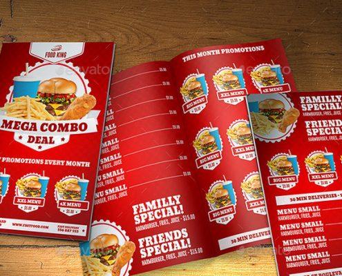 رنگ قرمز در طراحی منوی رستوران و فست فود
