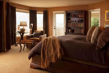 رنگ قهوه ای در طراحی دکور اتاق خواب