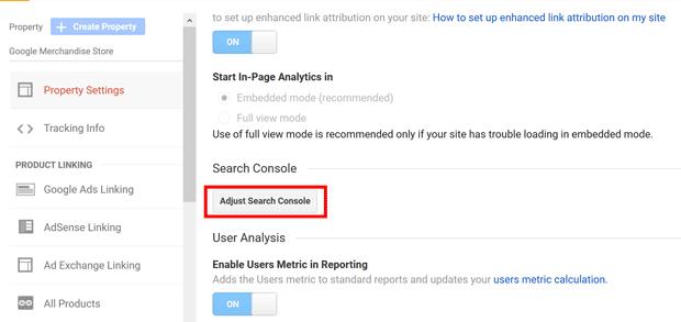 اتصال گوگل سرچ کنسول به گوگل آنالیتیکس