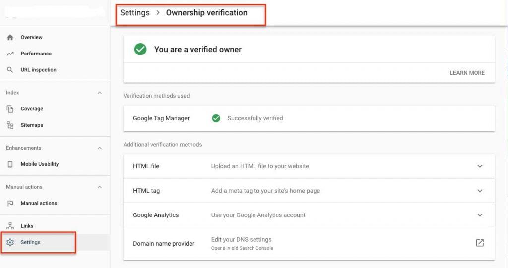 آموزش Settings در گوگل سرچ کنسول
